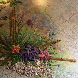 барельеф, врезанные изображения, художественная лепнина, декоративная шпаклевка-штукатурка, объемные панно, скульптура, мозаика, фреска, роспись стен и потолка, художественная роспись элементов декора,